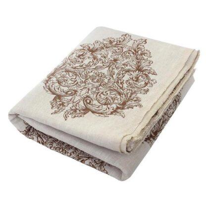 linen deck towel cream with brown pattern